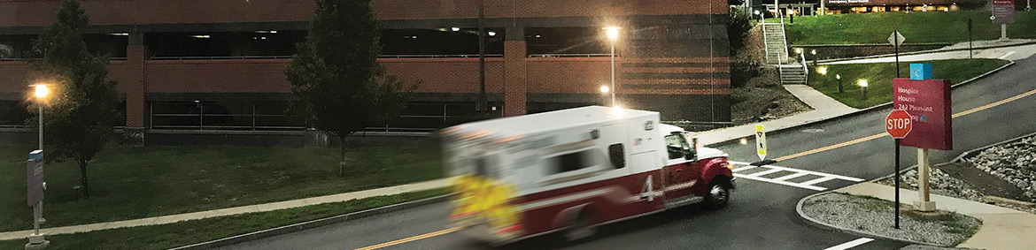 an ambulance rushing to the hospital